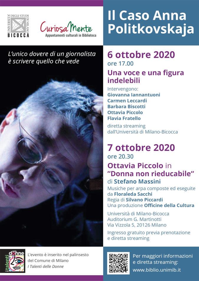 Il caso Anna Politkovskaja Evento Milano Bicocca - locandina
