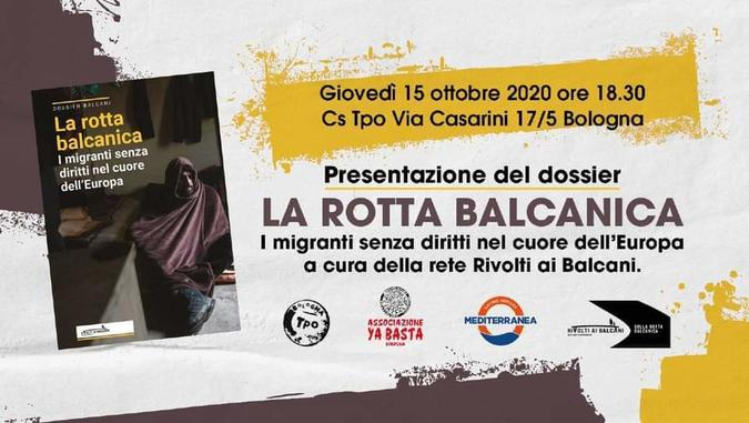 La rotta balcanica locandina evento 15 ottobre 2020