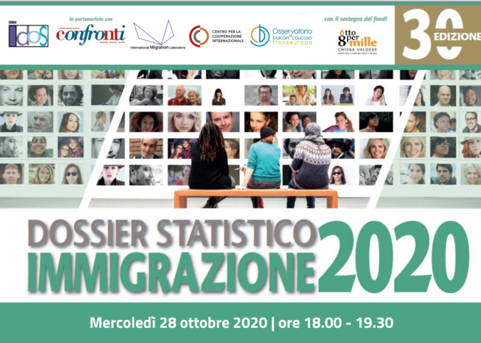 Locandina presentazione del Dossier Statistico Immigrazione 2020