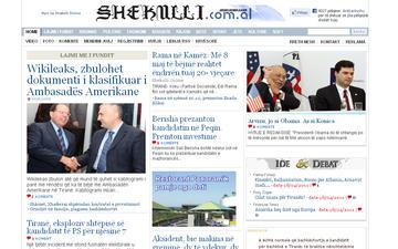 L'homepage della versione on-line del quotidiano albanese Shekulli