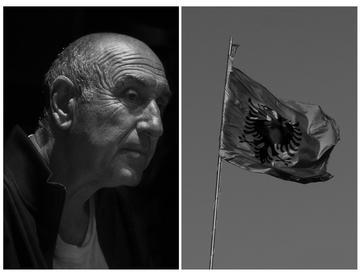 Gazmend Çaçi e la bandiera albanese - foto di Camilla de Maffei