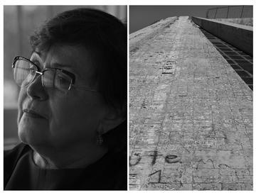 Nevila Nika e un dettaglio della Piramide, il famoso, faraonico mausoleo che domina il centro di Tirana. Una tomba regale costruita per custodire il corpo del dittatore e che oggi è un monumento in rovina - Camilla de Maffei