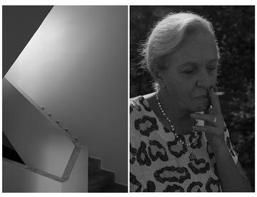 Foto 1: La scala d'accesso alla villa con due porte, la casa della famiglia Bekteshi nel quartiere Blloku, a Tirana, che da il titolo al famoso romanzo della scrittrice Vera Bekteshi. Foto 2: Vera Bekteshi - foto © Camilla De Maffei
