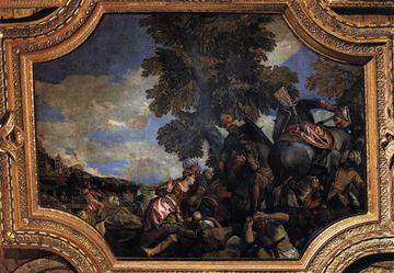Antonio Loredan dirige l'assalto per la liberazione di Scutari dall'assedio di Mehmed II - Paolo Veronese, 1585, Palazzo Ducale .