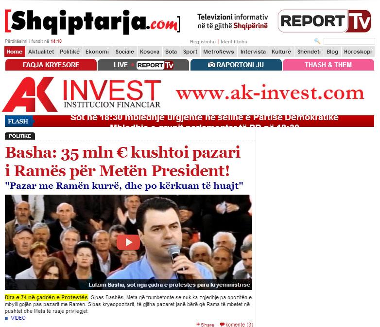 la homepage di shqiptarjacom