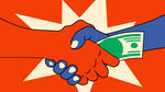 Una mano passa del denaro ad un'altra