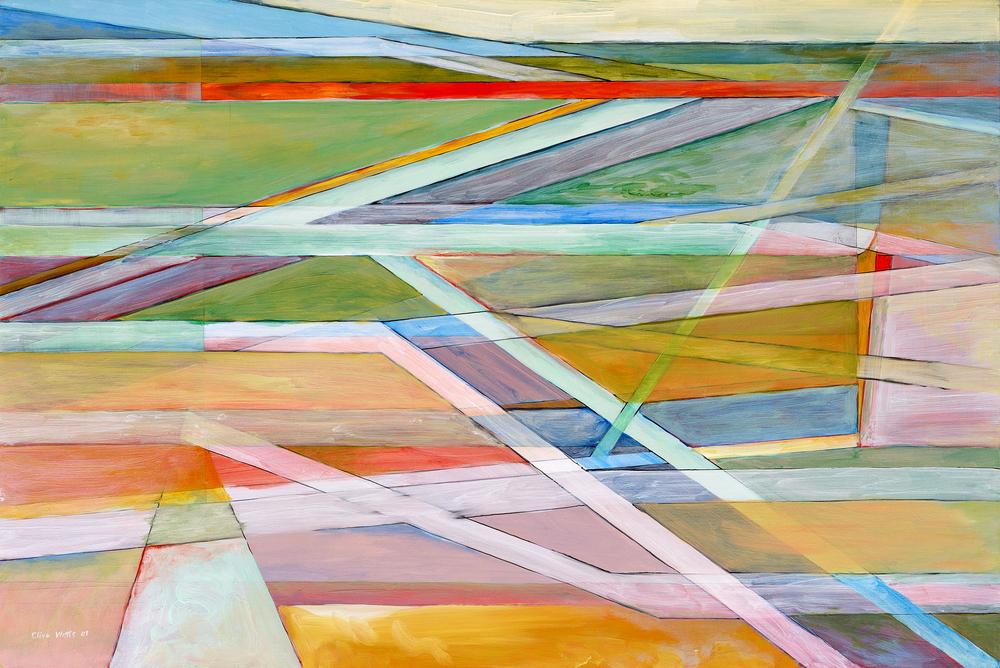 Linee che si incrociano, dipinto astratto di Clive Watts