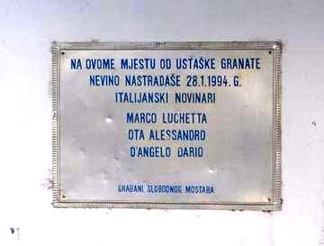 Mostar, targa in memoria dei tre inviati Rai - Foto di Giacomo Scattolini