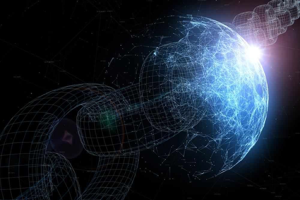 Un disegno raffigura il mondo attraversato da una catena virtuale a simbolizzare il cyberspazio (© Robsonphoto/Shutterstock)