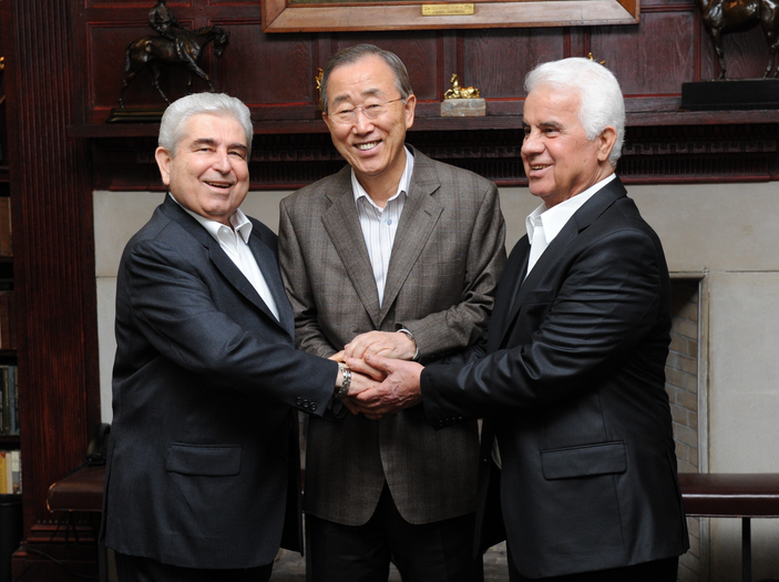 Ban Ki-moon meets Greek and Turkish Cypriot leaders