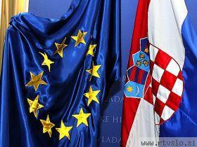 Bandiera della Croazia e dell'Ue