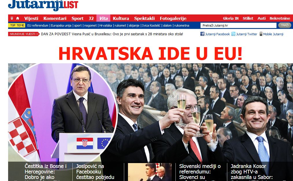 L'apertura del portale Jutarnji list