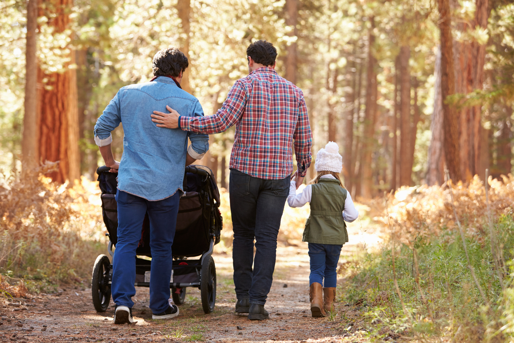 Gay couple with children walking in the woods ©  Monkey Business Images/Shutterstock