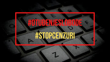 "Graphics reading ""Stop censorship"" in Croatian"