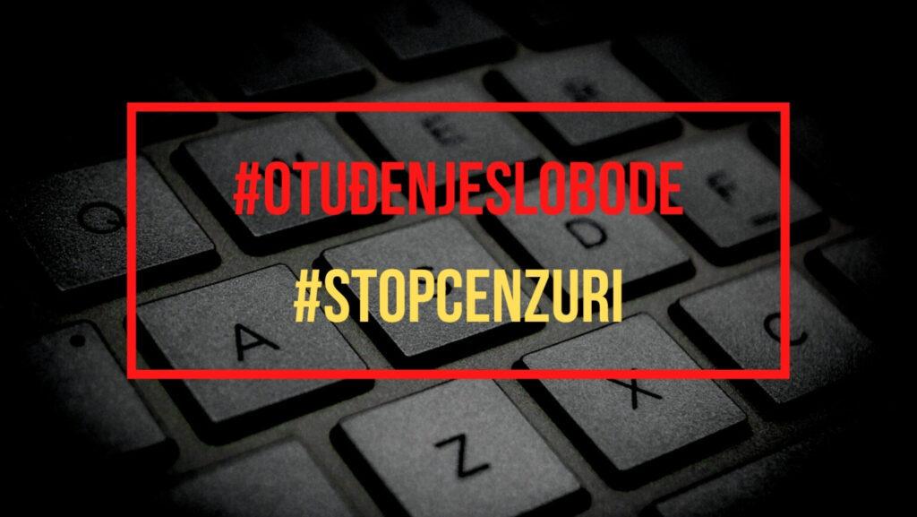 """گرافیک با کتیبه به زبان کرواتی """"سانسور را متوقف کنید"""""""