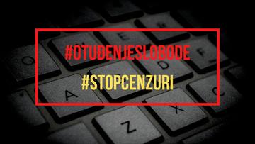 """Una grafica con la scritta in croato """"Stop alla censura"""""""
