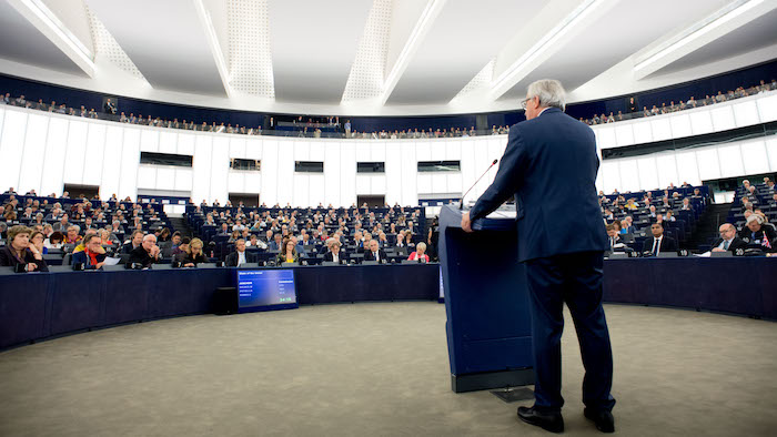 Strasbourg, 13 September 2017: EU Commission president Jean-Claude Juncker addressing the European parliament on his latest State of the European Union speech