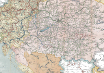 Detail of the railway map of the Austro-Hungarian empire in 1911 (Wikimedia Commons)