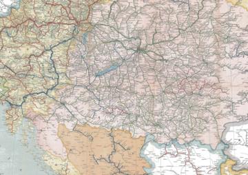 mappa della rete ferroviaria dell'impero austroungarico nel 1911