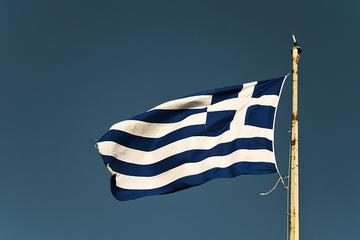 Bandiera greca sull'acropoli di Atene