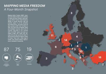 Una mappa dell'Europa con relative segnalazioni grafiche delle violazioni della libertà dei media