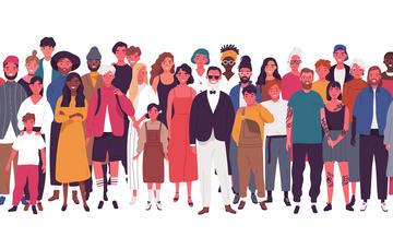 Disegni di persone di nazionalità e genere diverso (© GoodStudio/Shutterstock)