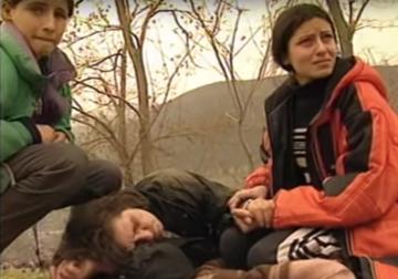 Un'immagine di rifugiati nella Piana di Blace, Macedonia, 1999