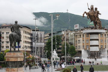 The main square in Skopje (Flickr: Skopje, Macedonia)