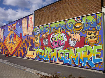 Street art/graffiti on the side of Tile Hill Library in Jardine Crescent, Tile Hill, Coventry