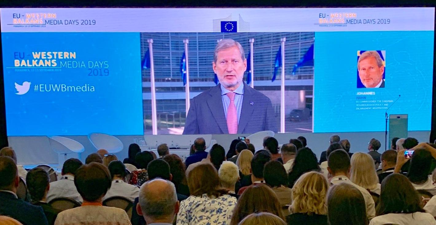 L'intervento del Commissario Ue Johannes Hahn ai Media Days a Podgorica (foto: Ue)