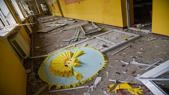 A severely damaged school in Nagorno-Karabakh – photo by Armine Avetysian
