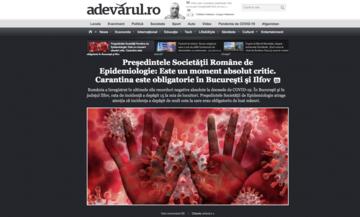 L'apertura del portale on-line del quotidiano Adevarul sottolinea la crisi sanitaria in atto