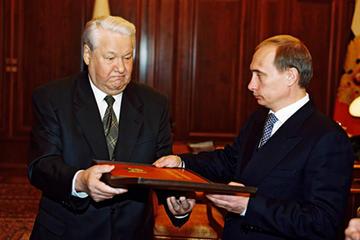 Vladimir Putin e Boris Yeltsin