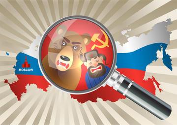 Disegno comico di un uomo russo con colbacco e di un orso dall'aria minacciosa © sebos/Shutterstock
