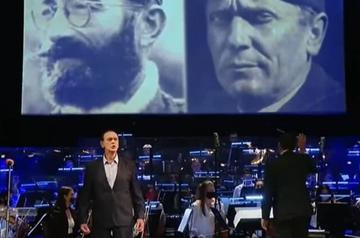 Foto di Dragoljub Draža Mihailović e Josip Broz Tito proiettate durante a cerimonia dle 9 maggio 2021 (screenshot youtube)