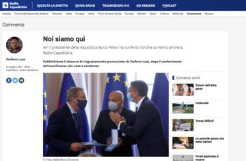 Sul portale di Radio Capodistria si dà notizia della consegna dell'alta onorificenza