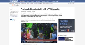 Il portale di RTV Slovenia pubblica la notizia dell'irruzione nei propri studi televisivi