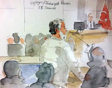 Disegni fatti nell'aula del tribunale durante li processo © Murat Başol