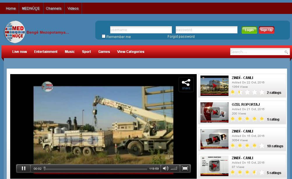 L'homepage del portale web di MedNuce TV