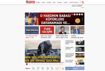 L'homepage della versione on-line del quotidiano Hürriyet