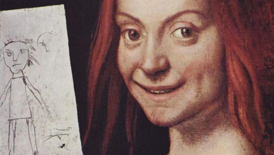 """Un dettaglio di """"Ritratto di bambino con il disegno"""" di Giovanni Caroto, una delle opere trafugate"""