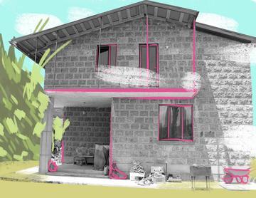 Un'illustrazione che si basa su una foto della guesthouse di Martin Sargsyan