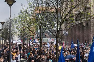 Proteste a Belgrado (foto G. Vale)