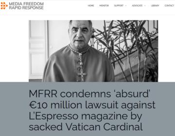 La pagina di MFRR con l'appello