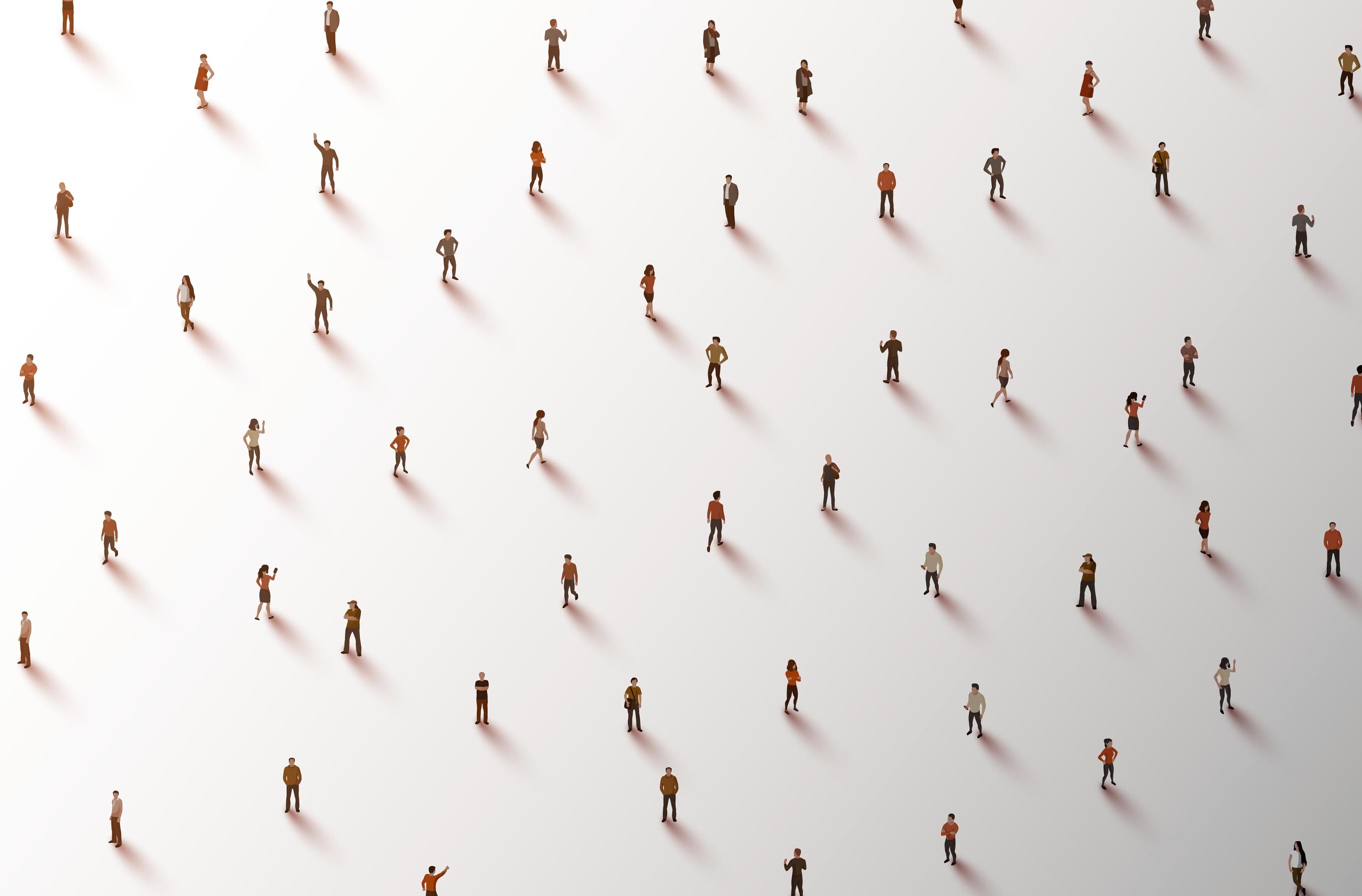 Illustrazione che mostra molte persone viste da lontano e rade su sfondo bianco