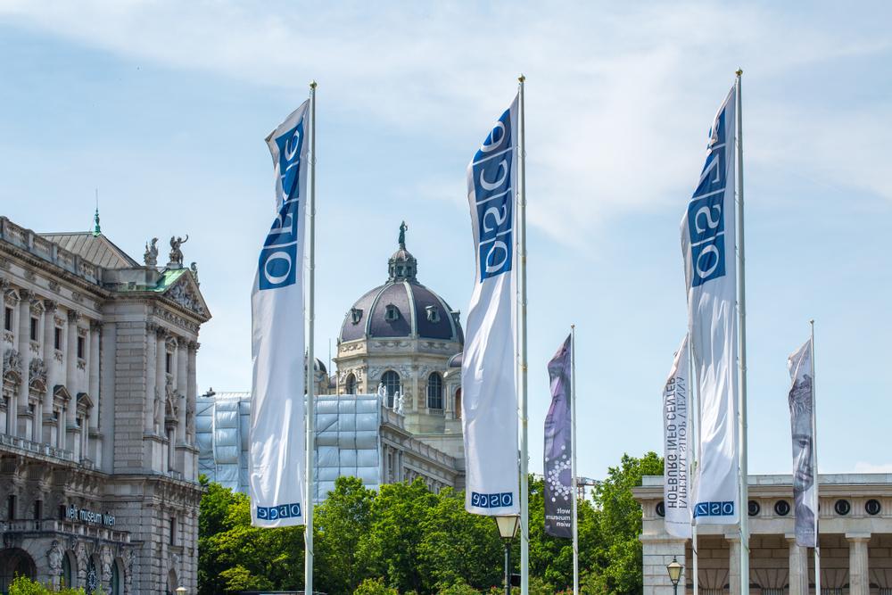 Bandiere dell'OSCER sventolano, sullo sfondo la sede dell'organizzazione nel centro di Vienna