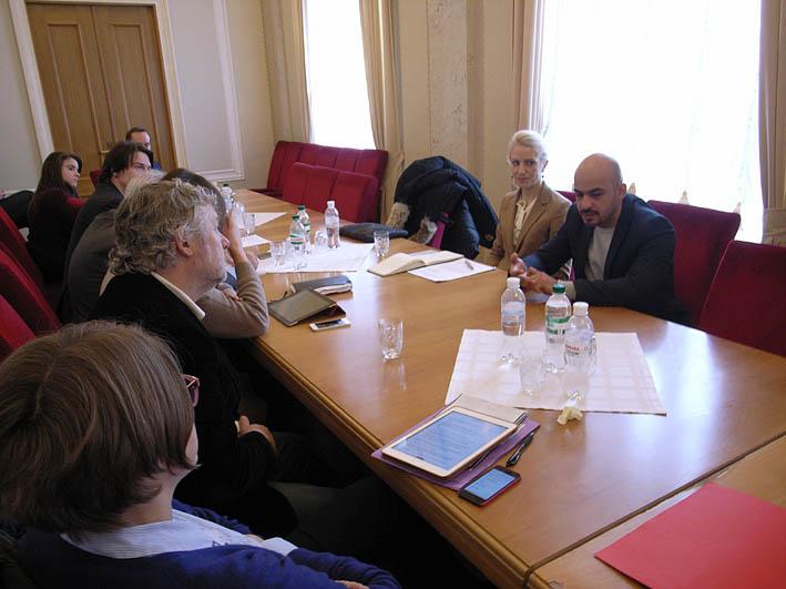 L'incontro alla Verhovna Rada con Nayem e Zalichuk (foto P. Bergamaschi)