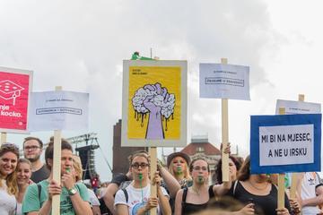 Durante la manifestazione a Zagabria (foto G. Vale)