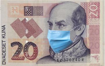 Banconota croata raffigurante il Ban Jelačić che indossa la mascherina - Illustrazione - © Space_Cat/Shutterstock