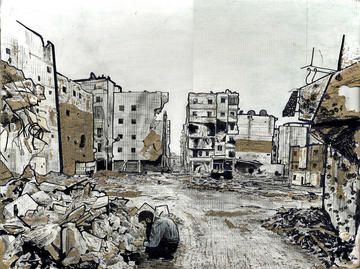 Un uomo ispeziona le macerie in un quartiere di Aleppo, studio (Josh Tabti, Flickr)